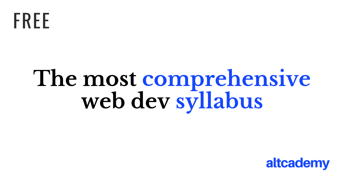 Altcademy S Full Stack Web Development Syllabus 2020 Altcademy